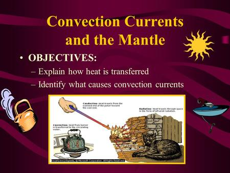 Convection Currents and the Mantle OBJECTIVES: –Explain how heat is transferred –Identify what causes convection currents.