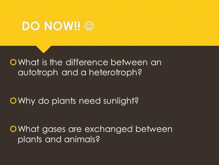 DO NOW!!  What is the difference between an autotroph and a heterotroph?  Why do plants need sunlight?  What gases are exchanged between plants and.