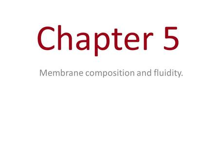 Chapter 5 Membrane composition and fluidity.. You Must Know Why membranes are selectively permeable. The structure and function of membrane proteins.