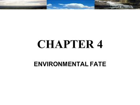 CHAPTER 4 ENVIRONMENTAL FATE. This chapter serves as a basis to identify the hazards associated with different substances used and produced in the chemical.