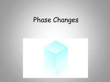 Phase Changes. solidliquidgas melting freezing vaporizing condensing sublimination endothermic exothermic.