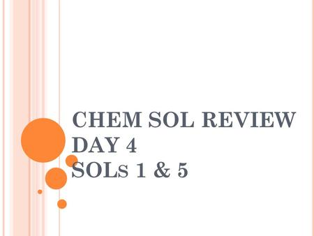 CHEM SOL REVIEW DAY 4 SOL S 1 & 5. S CIENTIFIC INVESTIGATIONS A ___________________ is an explanation that might be true and can be tested. Hypothesis.