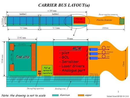 1 CARRIER BUS LAYOUT(a) ± 193 mm ladder1ladder2 15.86 mm 13.62 mm Pixel chip Michel Morel EP/ED 09/2000 32 x 425µ 256 x 50µ Decoupling capacitors 16. 8.