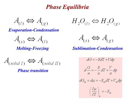 Phase Equilibria Melting-Freezing Evaporation-Condensation Sublimation-Condensation Phase transition.