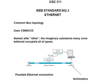"CSC 311 IEEE STANDARD 802.3 ETHERNET Common Bus topology Uses CSMA/CD Named after ""ether"", the imaginary substance many once believed occupied all of space."