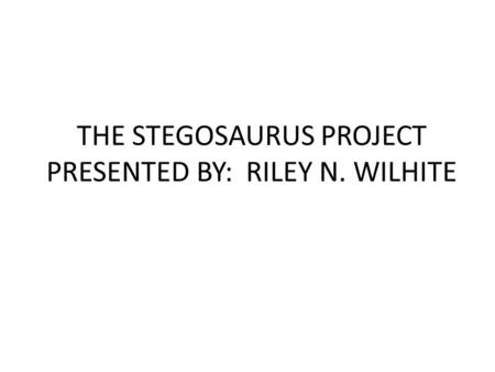 THE STEGOSAURUS PROJECT PRESENTED BY: RILEY N. WILHITE.