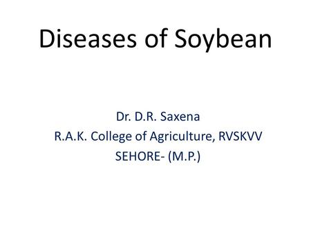 Diseases of Soybean Dr. D.R. Saxena R.A.K. College of Agriculture, RVSKVV SEHORE- (M.P.)
