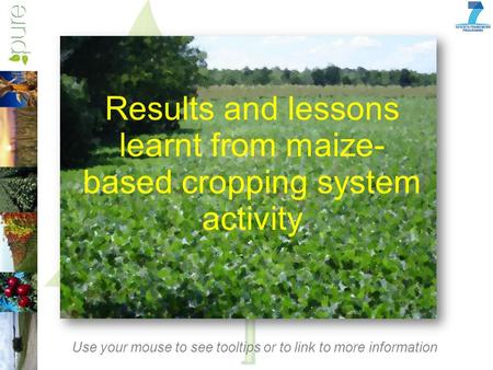 Results and lessons learnt from maize- based cropping system activity Use your mouse to see tooltips or to link to more information.