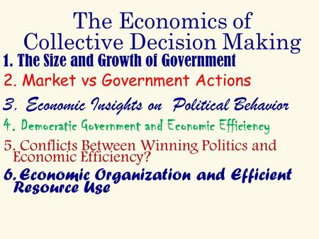 The Economics of Collective Decision Making 1. The Size and Growth of Government 2. Market vs Government Actions 3. Economic Insights on Political Behavior.