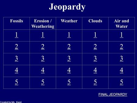 Jeopardy FossilsErosion / Weathering WeatherCloudsAir and Water 11111 22222 33333 44444 55555 Created by Ms. Karol FINAL JEOPARDY.