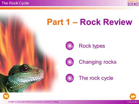 © OUP: To be used solely in purchaser's school or college Part 1 – Rock Review Rock types Changing rocks The rock cycle The Rock Cycle.