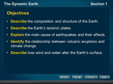 The Dynamic EarthSection 1 Objectives Describe the composition and structure of the Earth. Describe the Earth's tectonic plates. Explain the main cause.