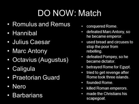 DO NOW: Match Romulus and Remus Hannibal Julius Caesar Marc Antony Octavius (Augustus) Caligula Praetorian Guard Nero Barbarians conquered Rome. defeated.