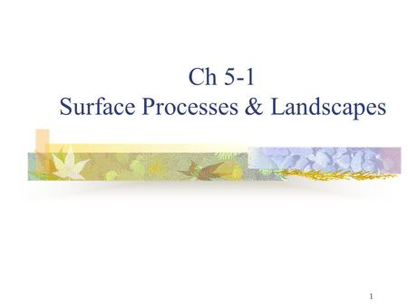 1 Ch 5-1 Surface Processes & Landscapes. 2 The Water Cycle Water is continuously moving between the atmo, the ground, and back into the atmo again (Dynamic.