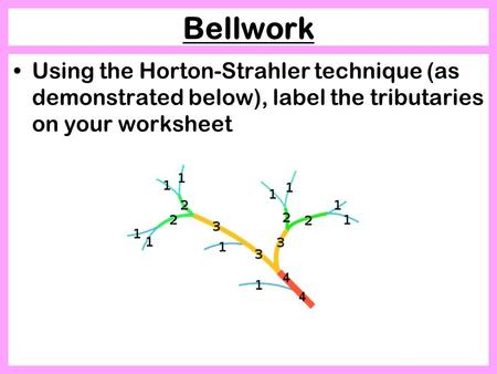 Bellwork Using the Horton-Strahler technique (as demonstrated below), label the tributaries on your worksheet.