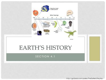 SECTION 4.1 EARTH'S HISTORY