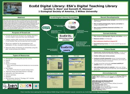 Purpose of Ecoed.net Provide the technical structure for ecology educators to share digital resources they have developed. Catalog existing ESA resources.