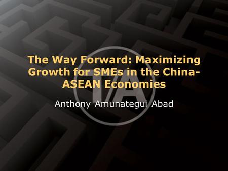 The Way Forward: Maximizing Growth for SMEs in the China- ASEAN Economies Anthony Amunategui Abad.