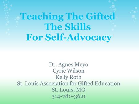 Teaching The Gifted The Skills For Self-Advocacy