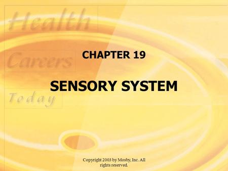 Copyright 2003 by Mosby, Inc. All rights reserved. CHAPTER 19 SENSORY SYSTEM.