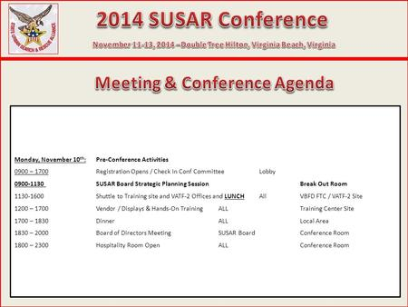 Monday, November 10 th :Pre-Conference Activities 0900 – 1700Registration Opens / Check In Conf CommitteeLobby 0900-1130 SUSAR Board Strategic Planning.