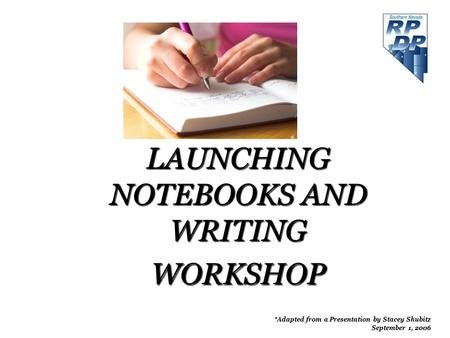LAUNCHING NOTEBOOKS AND WRITING WORKSHOP *Adapted from a Presentation by Stacey Shubitz September 1, 2006.