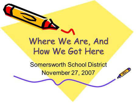 Where We Are, And How We Got Here Somersworth School District November 27, 2007.