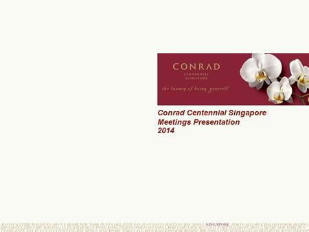 Conrad Centennial Singapore Meetings Presentation 2014.