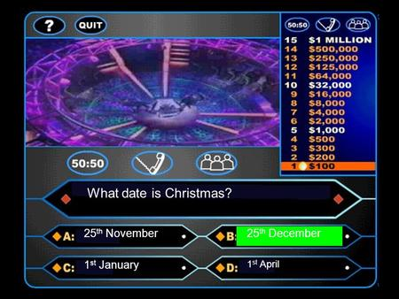What date is Christmas? 25 th November25 th December 1 st January 1 st April.