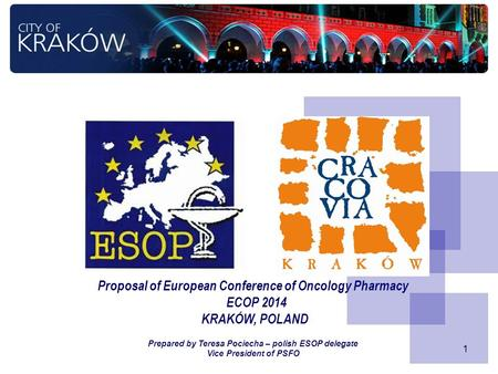 1 Proposal of European Conference of Oncology Pharmacy ECOP 2014 KRAKÓW, POLAND Prepared by Teresa Pociecha – polish ESOP delegate Vice President of PSFO.