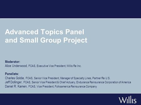 Advanced Topics Panel and Small Group Project Moderator: Alice Underwood, FCAS, Executive Vice President, Willis Re Inc. Panelists: Charles Goldie, FCAS,