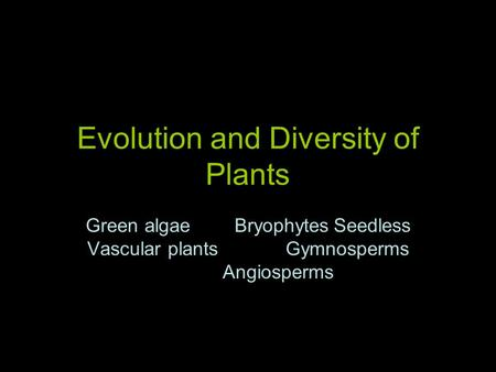 Evolution and Diversity of Plants Green algaeBryophytesSeedless Vascular plantsGymnosperms Angiosperms.