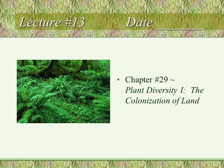 Lecture #13 Date _______ Chapter #29 ~ Plant Diversity I: The Colonization of Land.