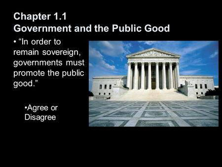 "Chapter 1.1 Government and the Public Good ""In order to remain sovereign, governments must promote the public good."" Agree or Disagree."