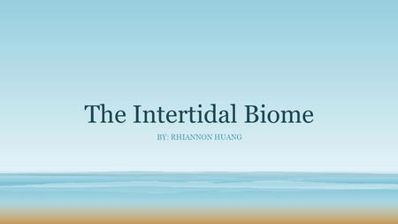 The Intertidal Biome BY: RHIANNON HUANG. The Intertidal Biome The intertidal biome is also known as the coastline biome. It is where land and sea meet.