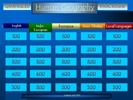Updated: April 2009 Human Geography English Local LanguagesRomanceSino-Tibetan Indo- European 100 200 300 400 500 100 200 300 400 500 GAME RULESFINAL ROUND.