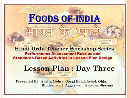 भारत के खाने Foods of india Lesson Plan : Day Three