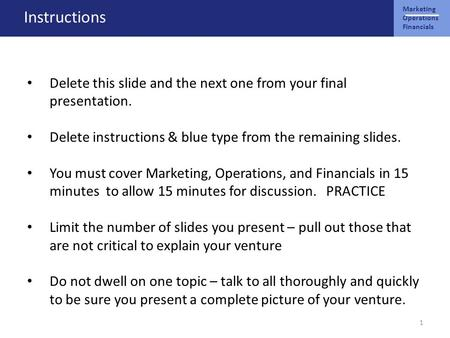 Marketing Operations Financials Instructions Delete this slide and the next one from your final presentation. Delete instructions & blue type from the.