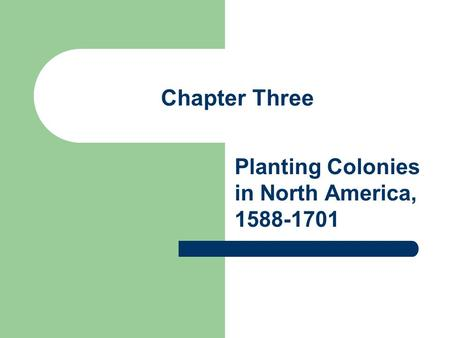 Chapter Three Planting Colonies in North America, 1588-1701.