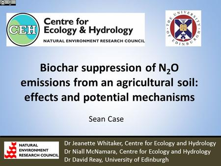Biochar suppression of N 2 O emissions from an agricultural soil: effects and potential mechanisms Sean Case Dr Jeanette Whitaker, Centre for Ecology and.