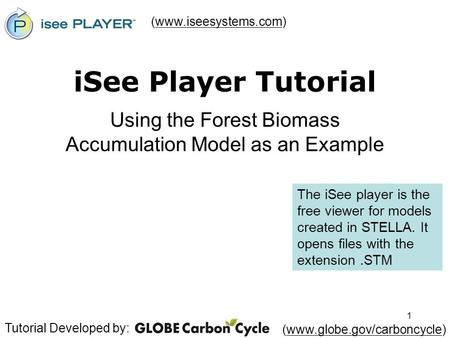 1 iSee Player Tutorial Using the Forest Biomass Accumulation Model as an Example (www.iseesystems.com)www.iseesystems.com Tutorial Developed by: (www.globe.gov/carboncycle)www.globe.gov/carboncycle.