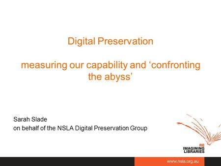 Digital Preservation measuring our capability and 'confronting the abyss' Sarah Slade on behalf of the NSLA Digital Preservation Group.
