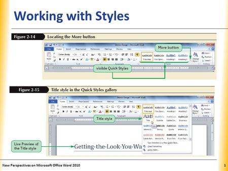 XP Working with Styles New Perspectives on Microsoft Office Word 20101.