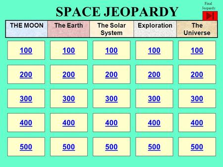 SPACE JEOPARDY 100 200 100 200 300 400 500 300 400 500 100 200 300 400 500 100 200 300 400 500 100 200 300 400 500 THE MOONThe EarthThe Solar System ExplorationThe.