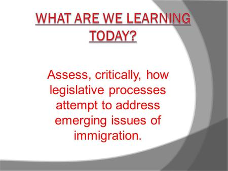 Assess, critically, how legislative processes attempt to address emerging issues of immigration.