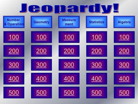 100 200 300 400 500 Number & Operation AlgebraStatistics Measure ment Geometry.