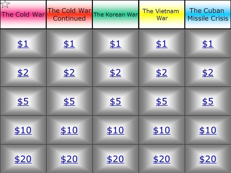 $2 $5 $10 $20 $1 $2 $5 $10 $20 $1 $2 $5 $10 $20 $1 $2 $5 $10 $20 $1 $2 $5 $10 $20 $1 The Cold War Continued The Korean War The Vietnam War The Cuban Missile.