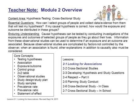 Teacher Note: Module 2 Overview Content Area: Hypothesis-Testing: Cross-Sectional Study Essential Questions: How can I select groups of people and collect.