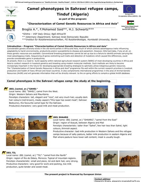 "Camel phenotypes in Sahrawi refugee camps, Tinduf (Algeria) as part of the program: ""Characterization of Camel Genetic Resources in Africa and Asia"" Broglia."