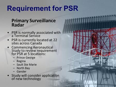 Requirement for PSR Primary Surveillance Radar